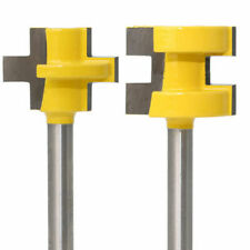 "2Pcs Tongue and Groove Router Bit Set 1/4"" Shank 3 Tooth Mortise Cutter"