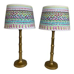 2/PAIR LILLY PULITZER POTTERY BARN TEEN GOLD PALM TABLE LAMPS WITH SHADES EUC