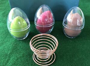 3 Pcs Makeup Powder Puff Blender Storage Egg Sponge with Drying Stand Holder(1)