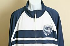 Adidas Men's white and blue Kansas City Sporting full zip track jacket 2XL XXL
