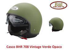 Casco Jet con Visiera a Scomparsa BHR 708 Vintage Verde Opaco Taglia XL 61 cm