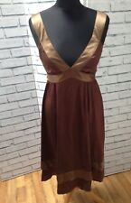Brown Satin Silk Midi Dress Topshop Womans Size 10