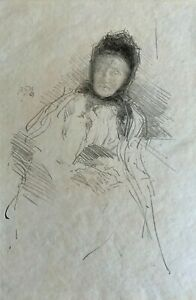"""James McNeill Whistler Rare Lithograph """"Unfinished Sketch of Lady Haden"""" 1895"""