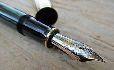 New Pelikan M1050 Green Stripe Gold Cap Fountain Pen FINE 18K Two-tone PF nib