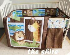 Baby Bedding Crib Cot Quilt Set- NEW 9pcs Quilt Bumper Sheet Dust Ruffle