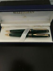 Waterman Expert II Set Prussian Green & Gold Ballpoint Pen & 0.5 Pencil  In Box