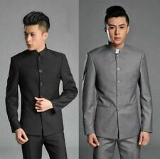 Men's Stand Collar Single Breasted Mao Oriental Tunic Jackets Blazer Suit Pants