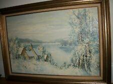 Vintage  Painting  Oil on canvas Winter Landscape  Framed signed WAGNER  SALE