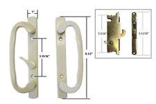 "Patio Door Handle Set with Mortise Lock, Beige, Non-Keyed, 3-15/16"" Screw Holes"