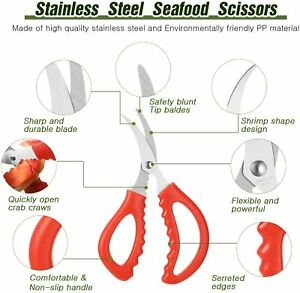 Set of 3 Tomato Red Color Handle Serrated Stainless Steel Seafood Crab Scissors