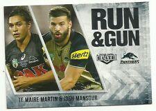 2016 NRL ELITE RUN & GUN PENRITH PANTHERS TE MAIRE MARTIN JOSH MANSOUR RG21 CARD