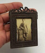 VINTAGE OLD FRAME MINI FOTO BOY CHILD METAL  rectangular  N-12