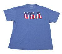 Good Condition Blue USA Logo Tee Shirt US-XL
