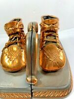 Mason Masterpiece Vintage Bronzed Copper Laced Baby Shoe Booties Bookends