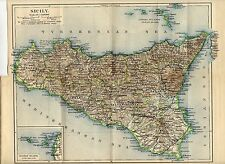 Antique map Palermo Sicily Italy / mappa Sicilia Italia 1922 -  Aegadian Islands
