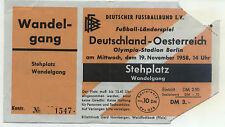 Ticket Länderspiel 19.11.1958 Deutschland - Österreich / Austria in Berlin