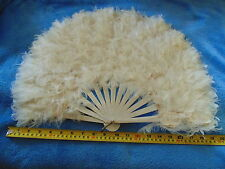 Theatre/Society Ball Ostrich / Swan Feather Burlesque Fan c1900.FREE SHIPPING.