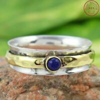 Lapis Lazuli Solid 925 Sterling Silver Spinner Ring Meditation Ring Size Sr201