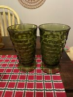 Set of 2 Whitehall Colony Avocado Green Iced Tea Glasses Fantastic Conditions