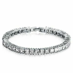 Crystal Clear Princess Cut 13.20CT  Cubic Zirconia In 925 Silver Tennis Bracelet