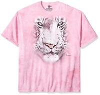The Mountain Mens / Womens White Tiger Big Face Adult T-Shirt, Pink, Large