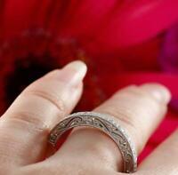 2ct Round Diamond Half Eternity Vintage Wedding Ring Band 14k White Gold Finish