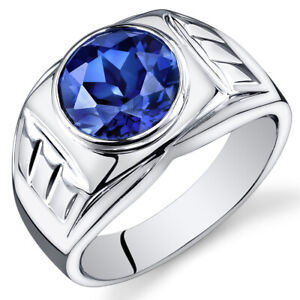 Mens 5.5 cts Round Cut Sapphire Sterling Silver Ring Sizes 8 To 13