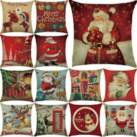 Christmas Pillow Case Santa Cotton Linen Sofa Car Throw Cushion Cover Decor Bu
