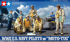 Tamiya 61107 1/48 Aircraft Model Kit WWII US Navy Pilots Figures w/Moto Tug Set