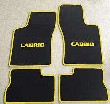 Autoteppich Fußmatten für Opel Kadett E Cabrio 1986-1993 schwarz-gelb 4tlg Neu
