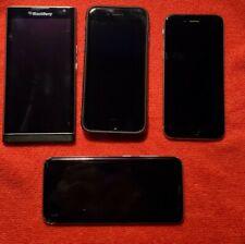 Lot of 4 phones for parts or repair 2 Apple iphone 7 black 128Gb iphone 6 16gb
