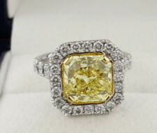 Fancy Yellow Radiant Diamond Ring 4.78 Carats Total Weight Platinum/18KYG GIA