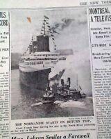 SS NORMANDIE French Ocean Liner Passenger Ship MAIDEN VOYAGE Start1935 Newspaper