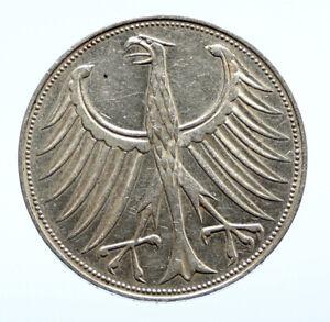 1969 D GERMANY Large 5 Mark Silver Vintage OLD Genuine Eagle German Coin i96465