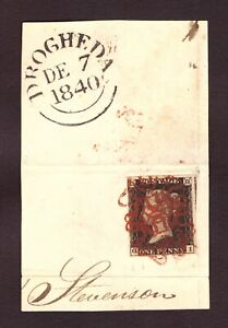1d Black Plate (7) (GI) Four Margin Example on Piece. Ireland - Drogheda Red M/C