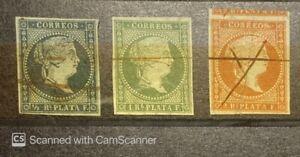 1855 Cub & Puerto Rico  Scott #1, #2 & #4, Loop Watermark,Ultramar 1st Stamp, XF