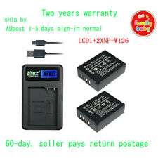 USB LCD1 Charger+2xBattery for Fuji NP-W126 BC-W126 HS30EXR HS33E X-A1 X-Pro1 AU