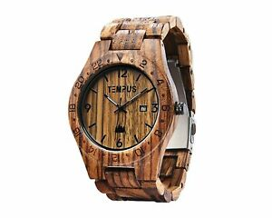 Tempus Men's Hand Crafted Wood Wristwatch ~ New in Box ~time/date dual movement