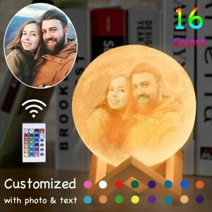 Personalized Moon Lamp Photo and Text USB Rechargeable Moon Light For Gift Kids