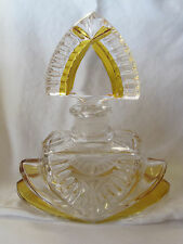 Stunning Art Deco Style Art Glass Perfume Bottle with Gold Color Accents