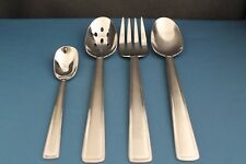 4pc Serving Tablespoon Meat Fork Pierced Pfaltzgraff Satin Chalfonte Stainless