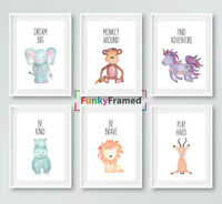Nursery Prints Set Safari Jungle Animals, Baby Kids Room Pictures Wall Art Decor