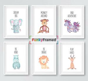 Nursery Prints Set Safari Jungle Animals, Baby Kids Room Pictures Wall Art Decor