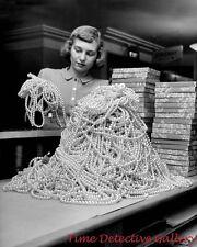 Pearls at Christmas, Macy's, New York City -1948- Historic Photo Print