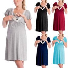 Lady Maternity Pregnancy Pajamas Dress Nightdress Nursing Breastfeeding Dresses