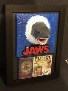 JAWS 3D Effect Picture , Brody Blood Splatter Police Pass & T Shirt ,Shark ,Prop