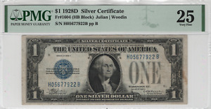 1928 D $1 Silver Certificate Note Funny Back Currency Fr.1604 HB Block PMG VF 25