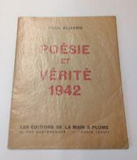 Poésie et Vérité 1942 - Paul Eluard Edition Originale Poème Liberté