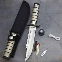 "9.5"" SURVIVAL COMBAT TACTICAL HUNTING KNIFE w/ SHEATH Military Bowie Fixed Blade"