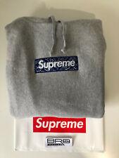 Supreme Bandana Box Logo Hoodie Grey FW19 Size M